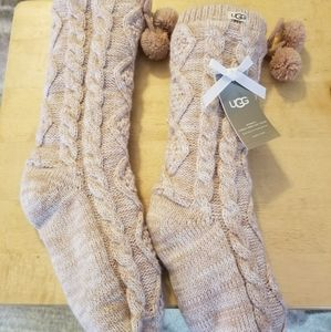 UGG fleece lined cozy socks with pom poms